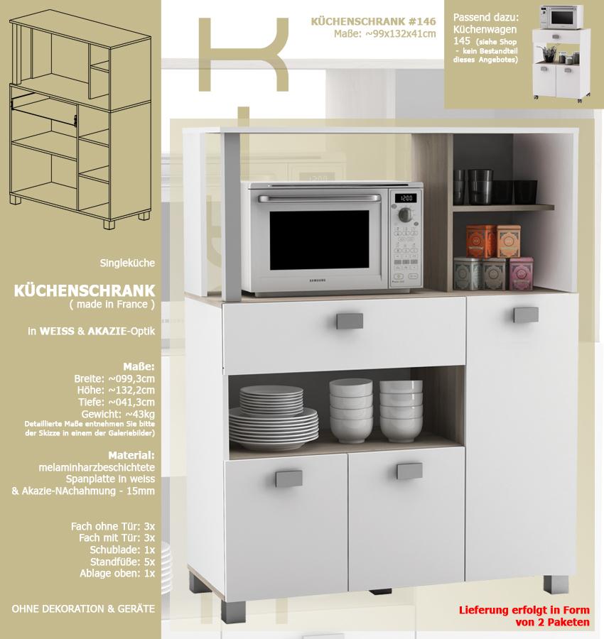 habeig Küchenschrank 146 weiß Küchenregal Küchenmöbel ...