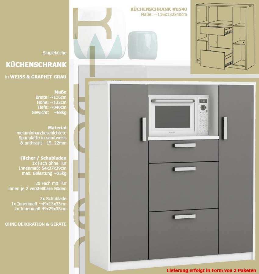 Favorit habeig moderner Küchenschrank #8540 weiß grau Miniküche FA57