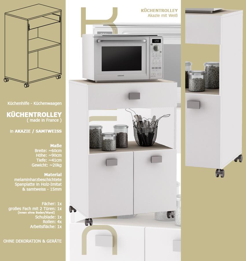 Küchenwagen #145 Akazie Weiss Küchentrolley Rollen Schublade
