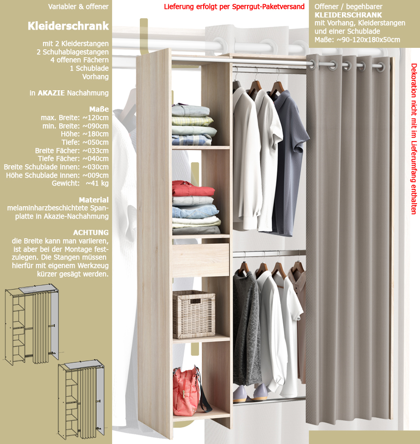 Begehbarer kleiderschrank stars  habeig GROSSER Kleiderschrank #897 begehbar offen Garderobe Schrank ...