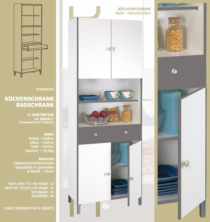 habeig Hochschrank 540 weiß Basalt Küchenschrank Küchenregal Schrank ...