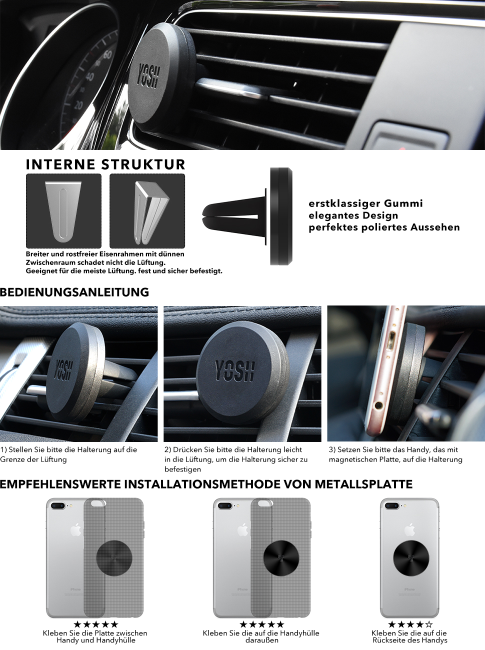 handyhalter f rs auto magnet l ftungsgitter elektronik. Black Bedroom Furniture Sets. Home Design Ideas