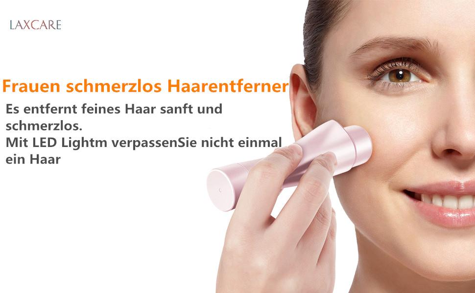 Gesichtshaarentferner für Frauen Laxcare elektrischer schmerzloser Haarentferner