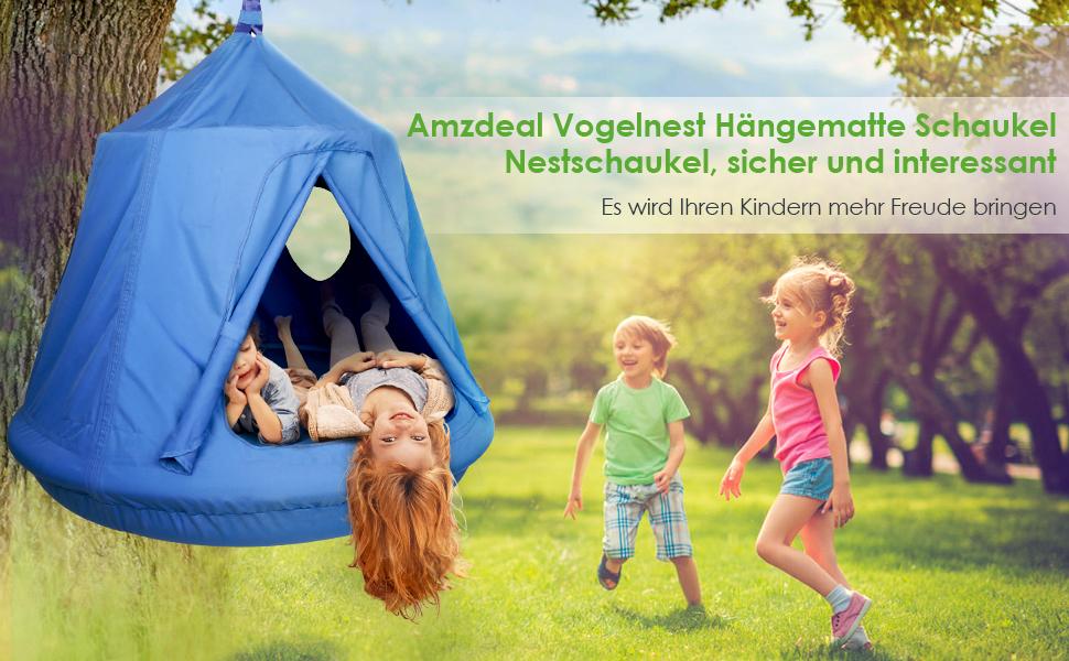 Kinder Hängematte mit Luftpumpe Kinderhängesitz Hängehöhle Schaukel Hängesessel