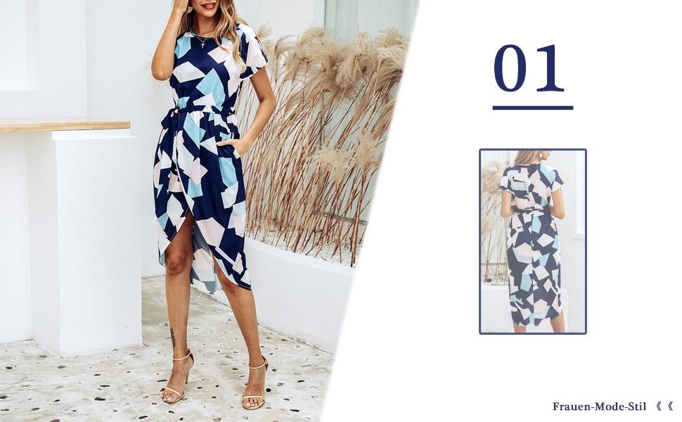 Damen V-Ausschnitt Gestreift Midi Kleider Sommer Urlaub Strandkleid Partykleid