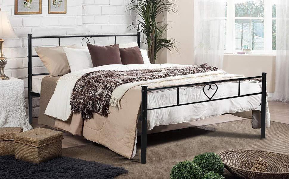 Amazon.de: Aingoo Doppelbett Bettgestell mit Lattenrost Metall ...
