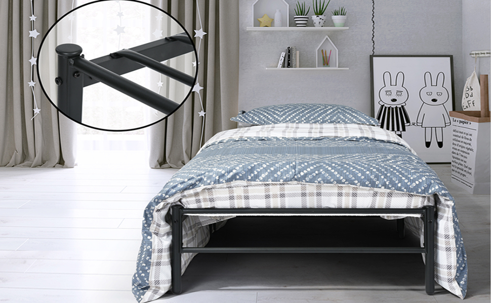 Aingoo Gästebett Einzelbett Single Bett Metallbett Metall Rahmen ...