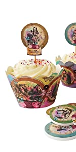 Alice im Wunderland 24 Cupcake Wrappers und Topper mit Cocktail-Sticks