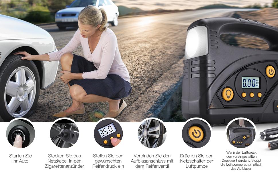 Autlead Auto Kompressor C5 12v Luftkompressor Tragbare Auto Luftpumpe 120 Psi Portable Reifenpumpe 40l M Led Taschenlampen Und Sos Modus Für Reifen Fahrzeuge Bälle Aufblasbare Gegenstände Auto