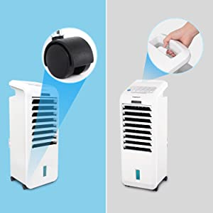 Aigostar Koud 33JTL .EINWEGVERPACKUNG. Mobiles Klimager/ät 5 Liter Wassertank, Inklusive/2/Eisboxen, 55 Watt, 3 Stufen, 35 m/³, /7-Stunden-Timer 3 in 1 Luftk/ühler,/Luftbefeuchter,/Luftreiniger,