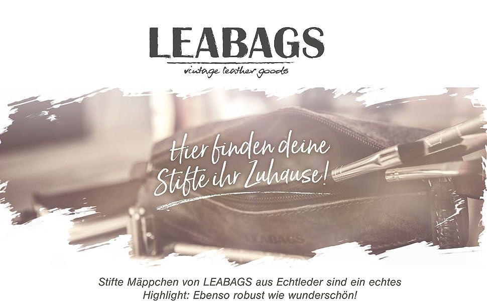 LEABAGS Fort Vaux Mäppchen aus echtem Büffel-Leder im Vintage Look