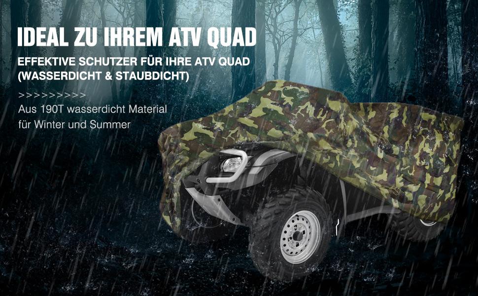 Neverland Xl Quad Atv Abdeckplane Fahrzeug Abdeckung Schutz Cover 210 120 115cm Winterfest Staub Regen Uv Schutz Camouflage Auto