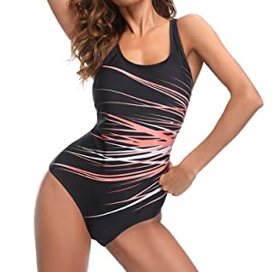 Sporzin Damen Gro/ß Einteiliger Badeanzug Push up Schale Einteiler Slim Bademode R/ückenfrei Sport Badeanzug Strandmode Swimsuit