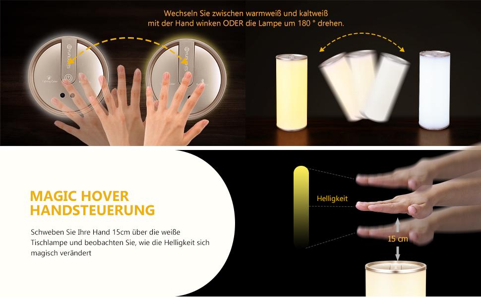 1 Stück Nachttischlampe Mit Gestensensor Yunlights Tischlampe Led