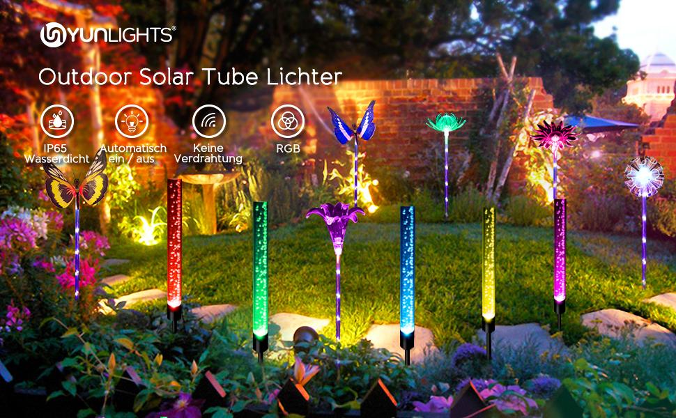 4 x Edelstahl RGB LED Garten Solar Lampen 48cm Terrassen Erdspieß Außen Leuchte