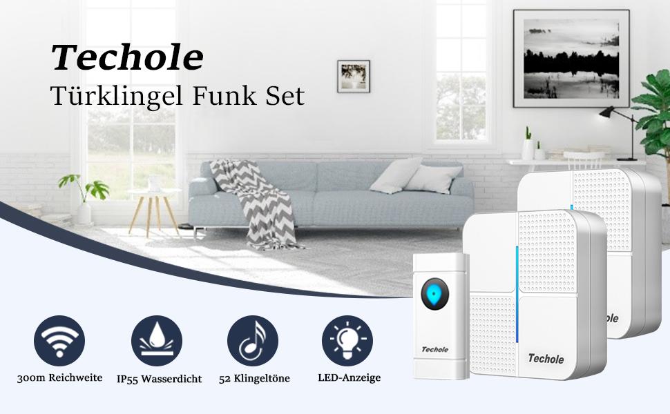 De draadloze deurbellen van Techole maken je dagelijks leven eenvoudiger en comfortabeler en kunnen eenvoudig worden gebruikt.