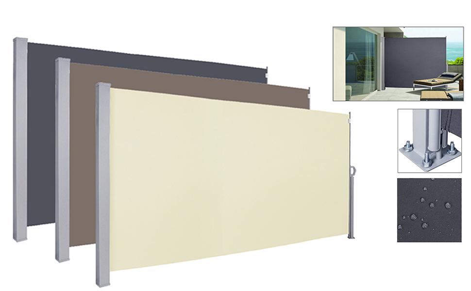 Seitenmarkise TÜV geprüft Sonnenschutz Markise Seitenrollo Alu Beige 180x300cm