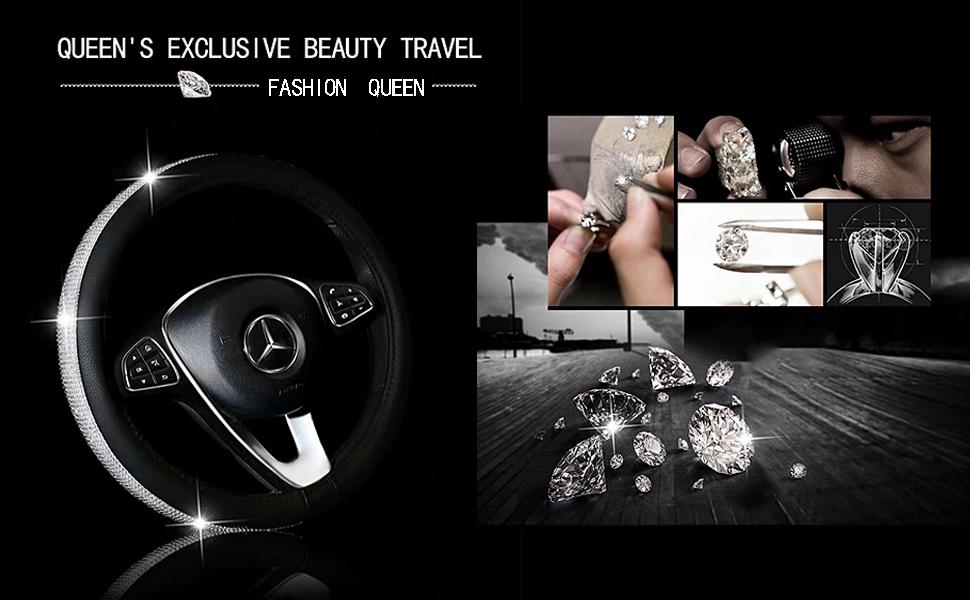 MASO Car Lenkradbezug Schwarz PU Leder Soft Skidproof Cover mit Crystal Crystal AB Diamond-Universal Gr/ö/ße 37-38cm