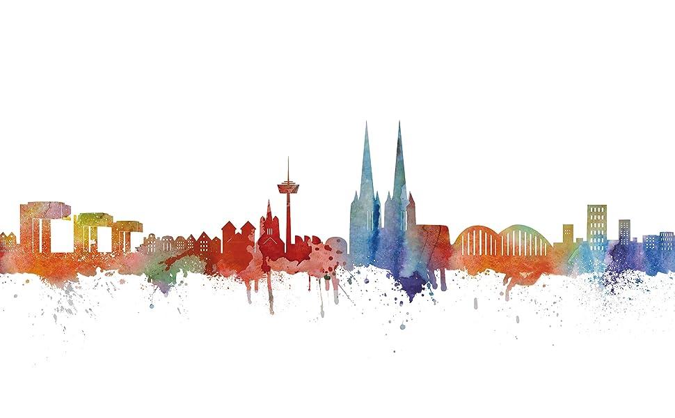 Amazon.de: Köln Skyline Stadt Weiss by DiChyk (div. Größen