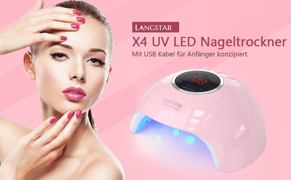 Nageltrockner LANGSTAR LED UV Lampe für Nägel, 24W UV Led