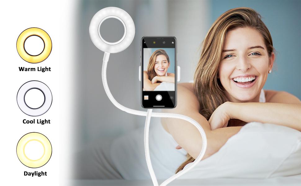 Handyhalterung mit Selfie Ringlicht für Liveübertragung