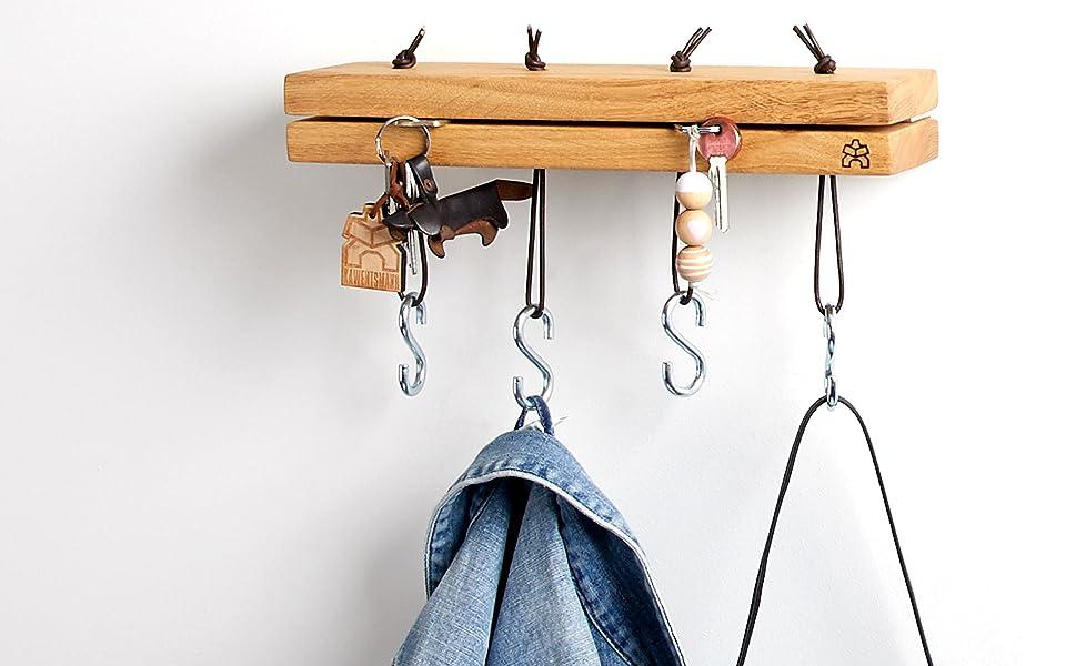 Schlüsselaufhänger Holz Wandhaken Garderobenbrett Schlüsselbrett.