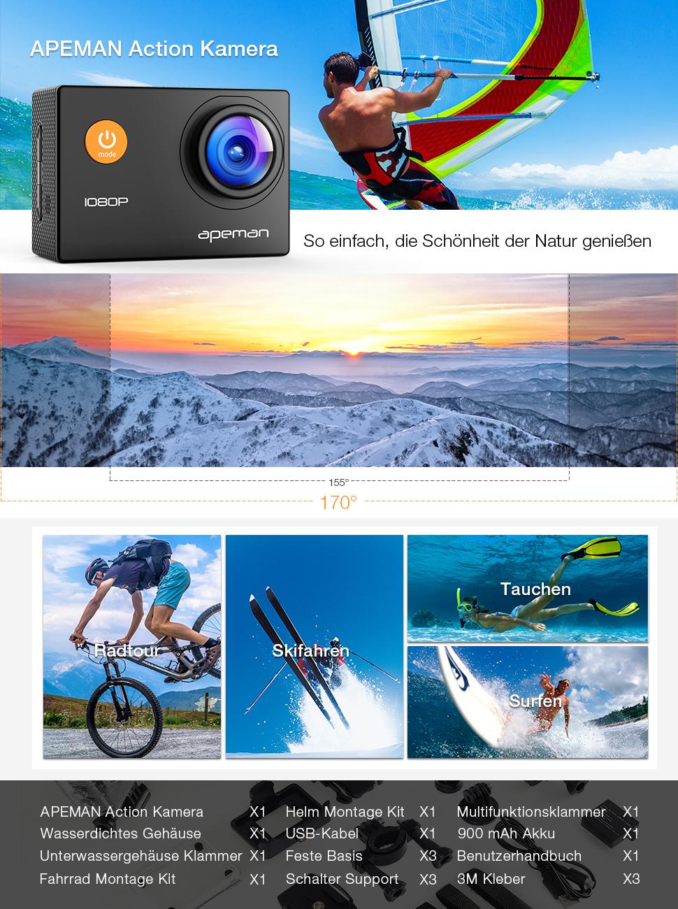 Apeman Full Hd Action Camera 1080p Sports Camera Cam Camera Photo
