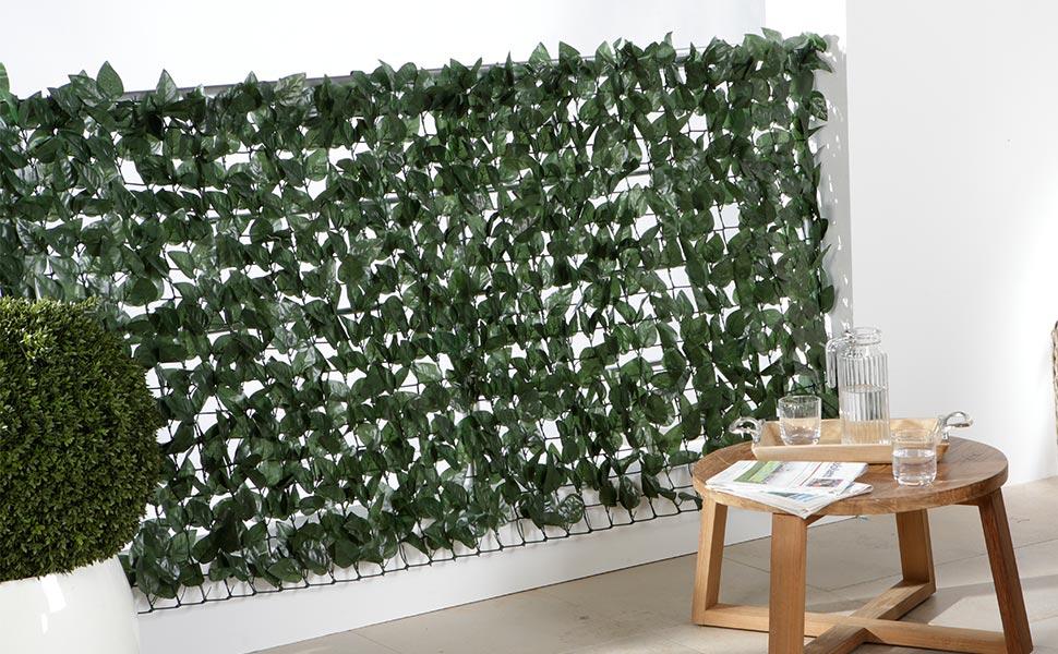 maxVitalis Balkon-Sichtschutzhecke, Sichtschutz Balkon Efeu Blätter,  Künstliche Hecke, Kunststoff, 300 x 100 cm