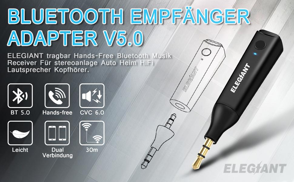 ELEGIANT Bluetooth Adapter Audio 5,0
