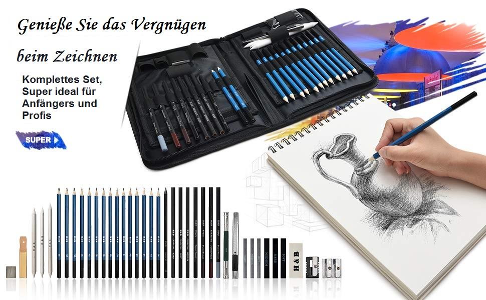 Professionelle Art Set mit Graphitkohlestifte Skizzierstifte 40 ST/ÜCKE Bleistifte Skizzierstifte Set mit Zubeh/ör und Tasche