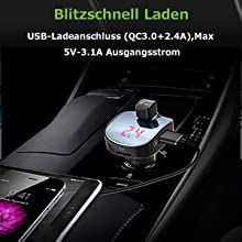 Yocktec Wireless FM Transmitter Bluetooth Auto Radio Transmitter mit TF-Anschluss Doppel-USB Schnell-AutlLadeger/ät Quick Charge 3.0 MP3 Music Player Bluetooth Transmitter f/ür Auto