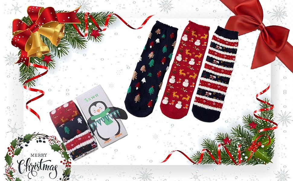 3 Stück Damen Weihnachtssocken Baumwolle Schraube Strümpfe Mädchen ...