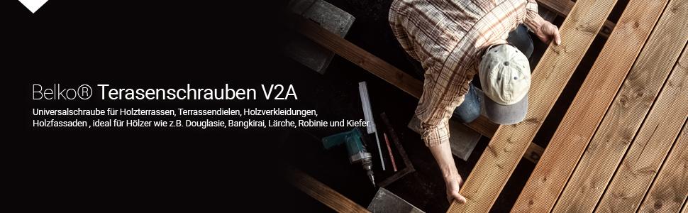 inkl Senkkopf Rostfrei Stainless Steel Belko Terassenschrauben Edelstahl A2 5,0 x 80-500 Stk JD Plus T25 TX25 Bit