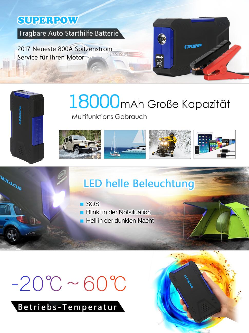 leelbox tragbare auto starthilfe batterie 800a 18000mah. Black Bedroom Furniture Sets. Home Design Ideas
