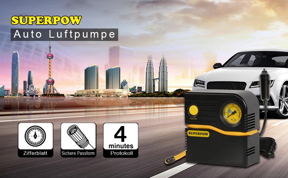 superpow Tragbarer Luftkompressor 120PSI mit LCD-Bildschirm Reifen-Luftpumpe DC 12V Automatische Pumpe mit 4 Minuten f/ür Fahrrad//Auto//Steamship//Sport Balls mit GARANTIE