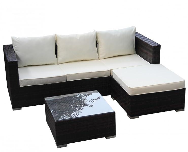 1plus gartensofa lounge ecksofa aus polyrattan braun for Ecksofa amazon