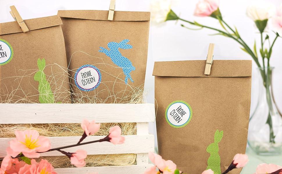 12 Diy Geschenktüten Zu Ostern Zum Selber Basteln Und Befüllen Do It Yourself Osternest Mit 12 Papiertüten Und Osterhasen Aufklebern Design 3