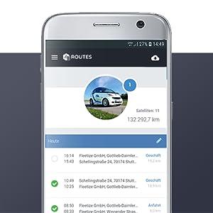 FLEETIZE Smartphone App Fahrtenansicht elektronisches Fahrtenbuch OBD2 GPS Tracker