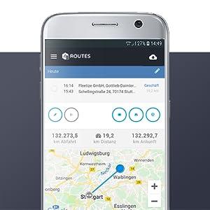 FLEETIZE Smartphone App Detailansicht elektronisches Fahrtenbuch OBD2 GPS Tracker