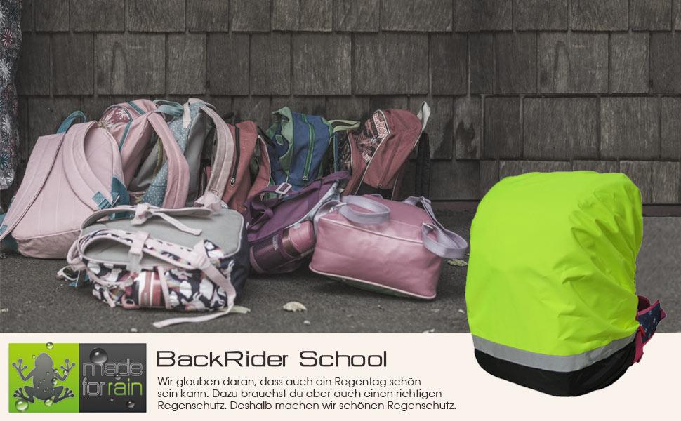B-Wa BackRider School Wasserdichtes Regencover mit Reflektor für Schulranzen