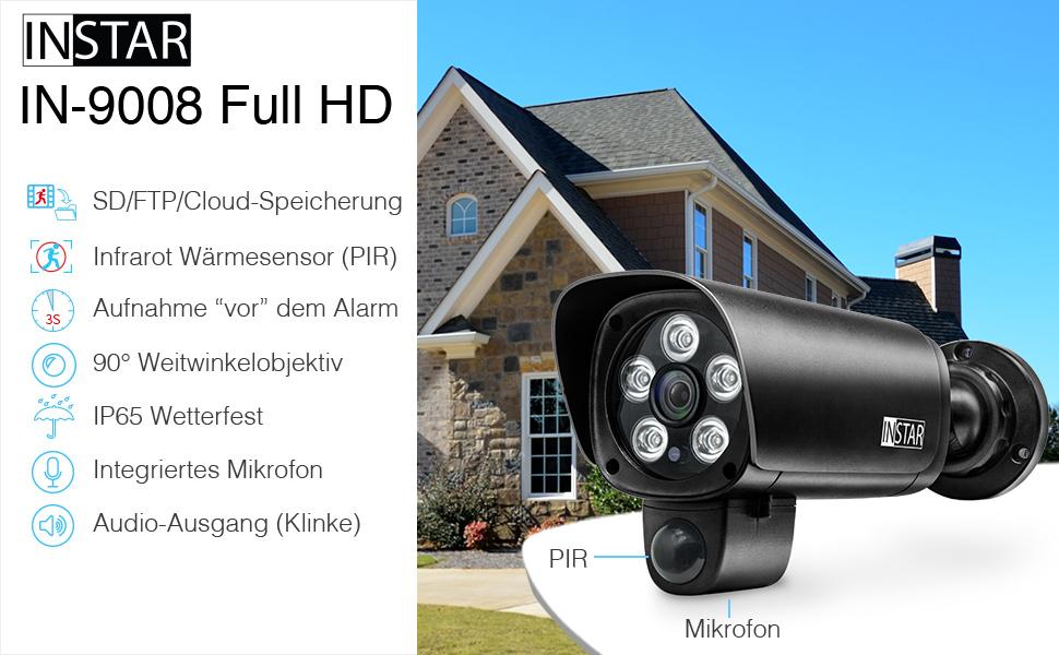 Überwachungskamera IN-9008 Full HD schwarz von INSTAR