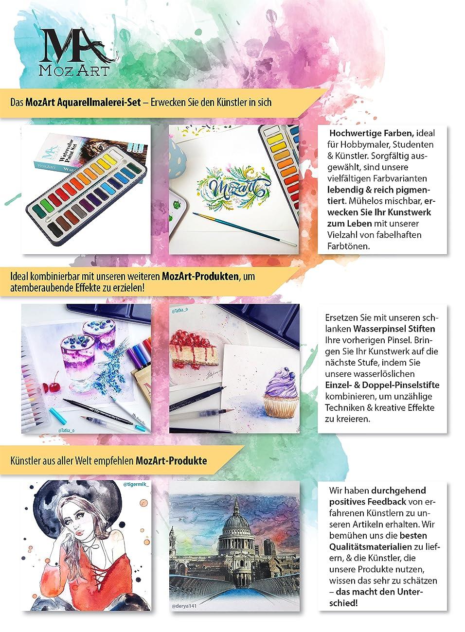 MozArt Supplies Aquarellfarben set - 24 kräftige Farben – Leicht und ...