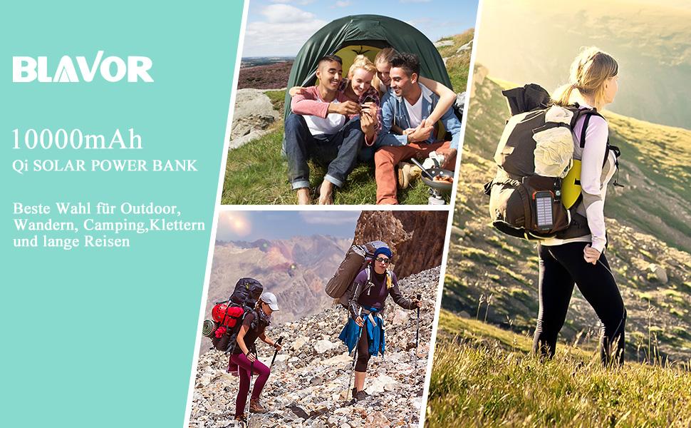 Qi wireless solar power bank für Reise,Outdoor, Wandern,Camping,Klettern und lange Strecken