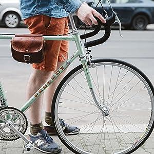 Fahrradtasche Leder Gusti nature Sabine Rahmentasche Braun Gusti Leder A129b