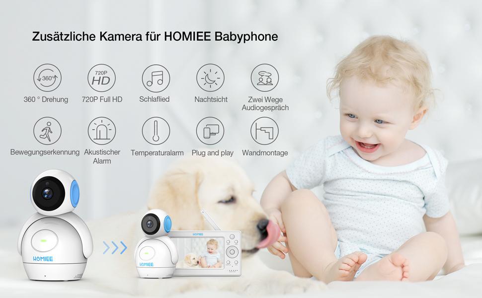 HOMIEE Baby Kamera f/ür Video Babyphone 720P 360 /°Baby /Überwachungskamera mit 300 Meter 2,4 GHz Wireless Verbindung Zwei Wege Audioanruf und Temperatursensor Nachtsicht ohne LED-Light