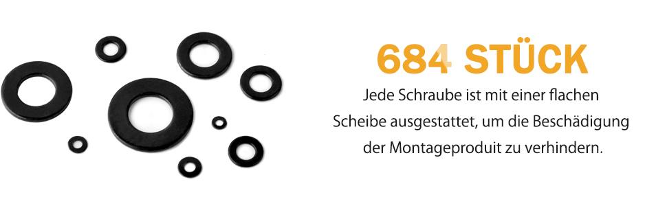 864 St/ück Edelstahl Unterlegscheiben Set O Ring Unterlegscheiben Beilagscheiben Sortiment Set mit Sortimentskasten 9 Gr/ö/ßen M2 M2.5 M3 M4 M5 M6 M8 M10 M12 Gobesty Flach Unterlegscheiben