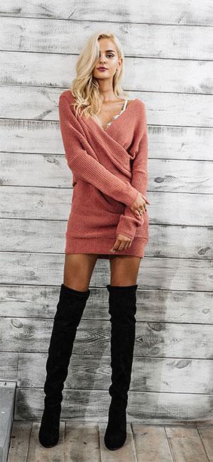 f1c21703226 Simplee Apparel Damen Winter Kleid Elegant Langarm Kreuz V-Ausschnitt  Schulterfrei Bodycon Strickkleid