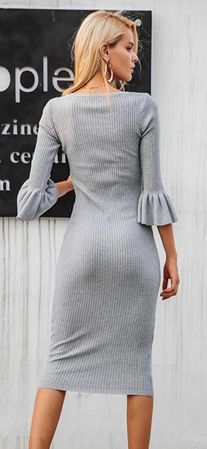 Simplee Apparel Damen Midi Kleid Elegant Langarm Bodycon ...