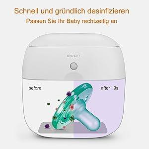 t/ötet /über 99/% von Bakterien in 59 Sekunden ab Munchkin Tragbarer Mini-UV-Sterilisator