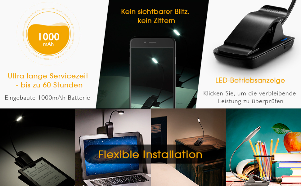 LED Buchlampe Schwanenhals 360° 4 LED Klemmleuchte Buchlampe für Kindle Lampe
